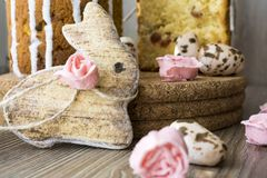 Easter bunny, sugar roses and sugar quail eggs Royalty Free Stock Photos