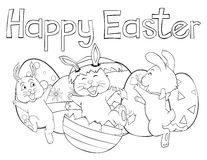 Easter bunny surprising his friends by popping up from an easter egg Stock Image