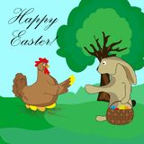 The Easter Bunny takes the egg from the chicken. Vector Royalty Free Stock Image