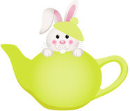 Easter bunny in teapot. Scalable vectorial image representing a Easter bunny in teapot, on white royalty free illustration
