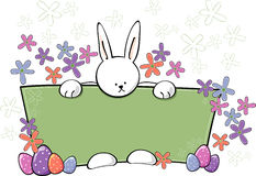 Easter Bunny Text Panel. Bunny standing behind a sign or banner holding to display an area for text. easter and spring use with text area-More Easter Vectors In Stock Images