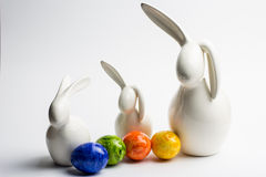 Easter bunny. Three easter bunny with eggs Stock Photos