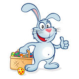 Easter bunny thumbs up basket vector illustration