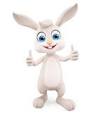 Easter Bunny with thumbs up pose. 3d illustration of Easter Bunny with thumbs up pose Stock Photo