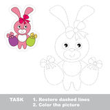 Easter Bunny to be traced. Vector trace game. Royalty Free Stock Image