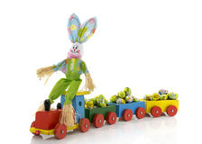 Easter bunny with toy train Stock Image