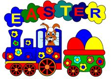 Easter bunny and train stock photography