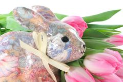 Easter Bunny with Tulips Royalty Free Stock Photos