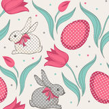 Easter bunny and tulips floral seamless pattern Royalty Free Stock Photography