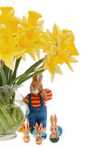 Easter Bunny under daffodils Royalty Free Stock Image