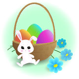 Easter bunny. Vector easter bunny near the basket with eggs and flowers Stock Photos