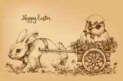 Easter bunny vintage card. Etch style scene Stock Image