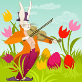 Easter bunny with violin. Doodle violinist bunny on a colorful meadow surrounded by easter eggs Stock Image