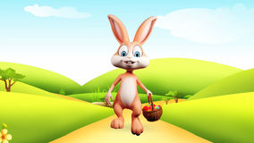 Easter bunny walking with colorful eggs basket stock footage