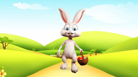 Easter bunny walking with colorful eggs basket stock video