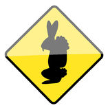 Easter bunny warning sign Royalty Free Stock Images