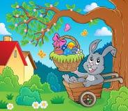 Easter bunny in wheelbarrow image 3 stock illustration