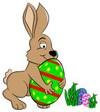 Easter bunny who loves his egg Stock Image