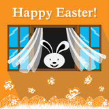 Easter bunny in the window. Vector easter eggs and bunny in the window Royalty Free Stock Photo