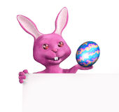 Easter Bunny With Blank Sign - With Clipping Path Stock Images