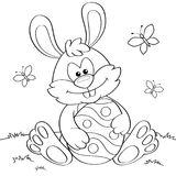 Easter Bunny With Egg. Black And White Vector Illustration For Coloring Book Stock Photography