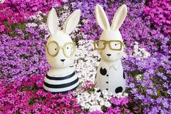 Easter bunnies in pink, violet and white phlox. Easter bunny woman and easter bunny man sitting in flowering pink, violet and white moss Phlox stock photos