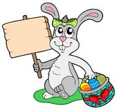 Easter bunny with wooden sign Stock Image