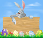 Easter bunny and wooden sign Stock Photos