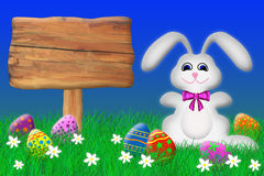 Easter Bunny and Wooden Sign. Easter bunny surrounded by eggs sitting by a wooden sign Vector Illustration