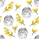 Easter bunny and yellow willow watercolor seamless pattern
