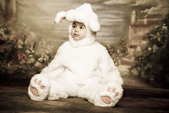 Easter bunny7. A two year old girl dressed as a bunny for easter Royalty Free Stock Photo