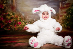 Easter bunny7. A two year old girl dressed as a bunny for easter Stock Photo