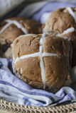 Easter buns in a basket Stock Photography