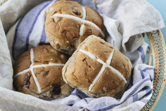 Easter buns in a basket Royalty Free Stock Photo