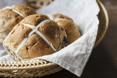 Easter buns in a basket Royalty Free Stock Image