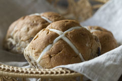 Easter buns in a basket Stock Image