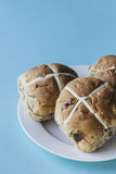 Easter buns on a plate Royalty Free Stock Photo