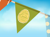 Easter bunting over blue sky Royalty Free Stock Photography