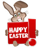 Easter Buny red sign with exclamation mark Stock Images