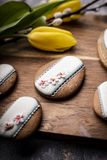 Easter butter cookies with icing. Traditional household stock photo