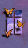 Easter Butterflies with Cross. Graphic geometric composition of cross of Jesus surrounded by trio of delicate butterflies. Art suitable for use as greeting card Stock Photo