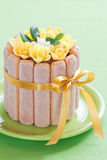 Easter cake. Easter chocolate cake decorated with flowers, selective focus Stock Photos
