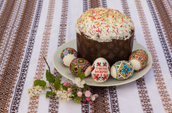 Easter cake and apple blossom branch (mass production of product Stock Image