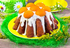 Easter cake with apricots Royalty Free Stock Photography
