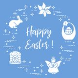 Easter cake, basket, eggs, rabbit, flowers, angel. Easter symbols. Easter cake, basket, eggs, rabbit, flowers, angel Stock Photos