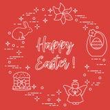 Easter cake, basket, eggs, rabbit, flowers, angel. Easter symbols. Easter cake, basket, eggs, rabbit, flowers, angel Royalty Free Stock Photography