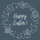 Easter cake, basket, eggs, rabbit, flowers, angel. Easter symbols. Easter cake, basket, eggs, rabbit, flowers, angel Stock Photo