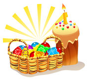 Easter Cake And Basket With Painted Eggs. Illustration of traditional Easter cake and wicker basket with colorful Easter eggs Royalty Free Stock Images