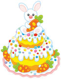 Easter cake with a bunny. Vector illustration of a festively decorated pie with a small white rabbit and carrots Royalty Free Stock Photo