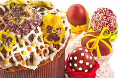 Easter cake with candied flowers and pasch eggs. royalty free stock photography